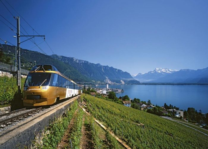 The GoldenPass Panoramic Express between Montreux and the Lavaux winegrowing region (a UNESCO World Heritage).