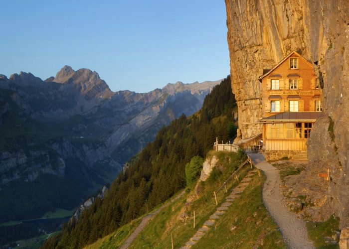 The Aeescher-Wildkirchli mountain guest house - built directly into the rock face on the Ebenalp in Alpstein.