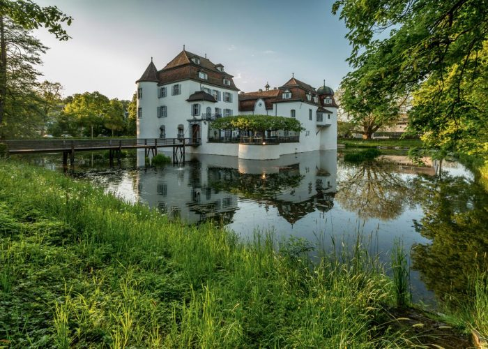 Castle Bottmingen from the 13th century is one of the few remaining water castles in Switzerland.