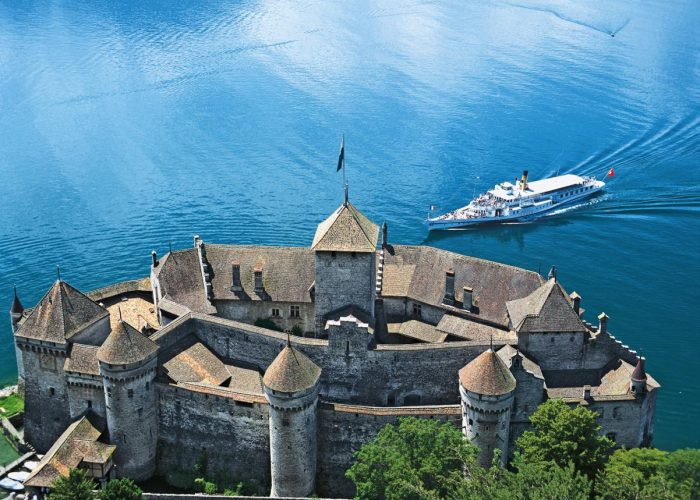 Chillon Castle on Lake Geneva was one of Europe's mightiest strongholds in medieval times.