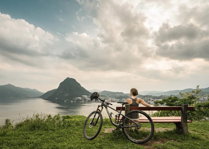 View from the Parco San Michele to Lugano in Ticino, Switzerland