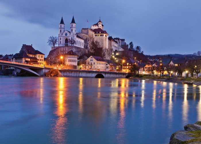 The medieval town of Aarburg. The about it enthroned fortress has been preserved since the early modern period and is the only of its kind in Switzerland.