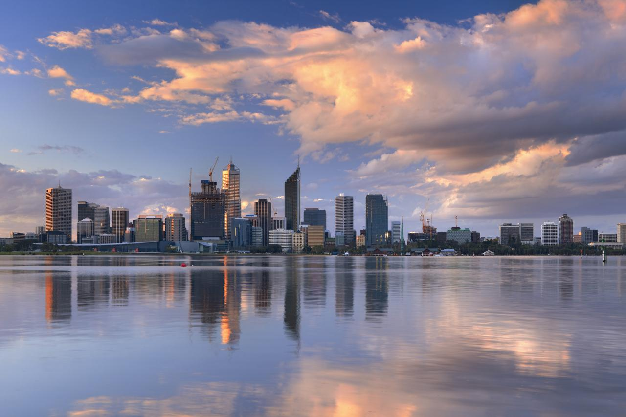 Perth City Skyline on the Swan River, Western Australia