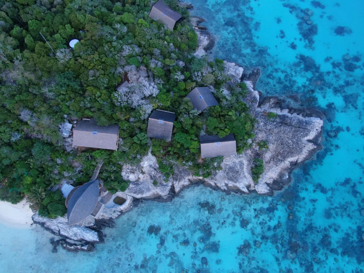 Aerial View of Elang Private Residence, Bawah Reserves, Indonesia